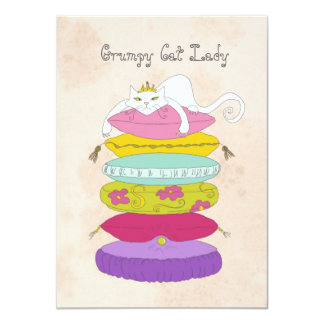 Grumpy cat lady birthday party Invites