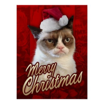 Christmas Themed Grumpy Cat Merry Christmas Poster