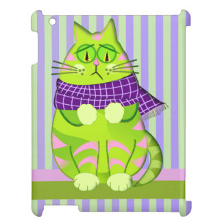 Grumpy cat on Striped background iPad Cases