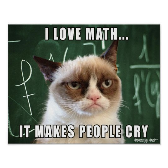 Grumpy Cat Poster I Love Math It Makes People Cry Poster