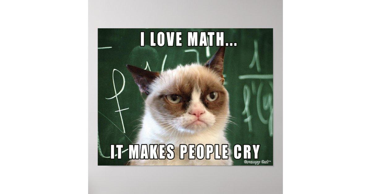 Grumpy Cat Poster I love math it