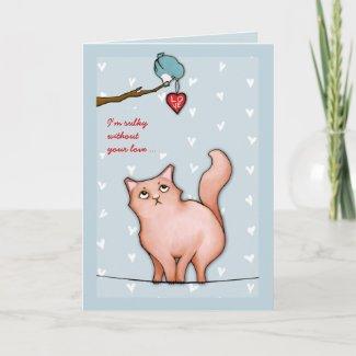 Grumpy Cat Sue blue Sulky Valentine's Card