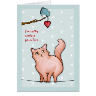 Grumpy Cat Sue green Sulky Valentine's Card