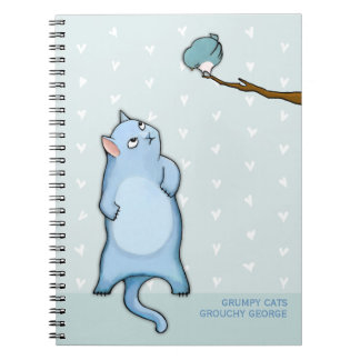 Grumpy Cats Grouchy George hearts Notebook