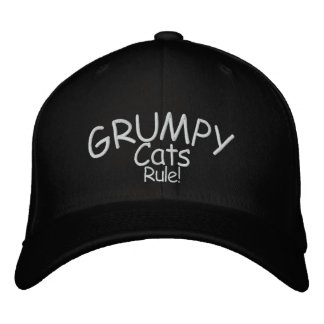 Grumpy Cats Rule! Embroidered Baseball Caps