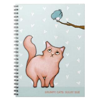 Grumpy Cats Sulky Sue hearts Notebook