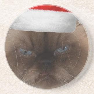 Grumpy Christmas Cat Coaster
