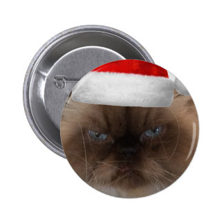 Grumpy Christmas Cat Pinback Button