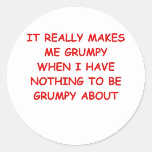 grumpy classic round sticker
