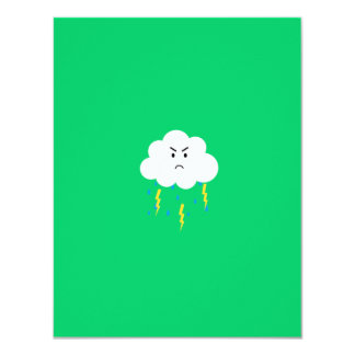 Grumpy cloud with lightnings card