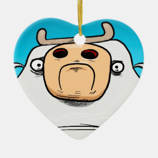 Grumpy Cow Ceramic Heart Decoration
