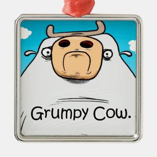 Grumpy Cow Silver-Colored Square Decoration
