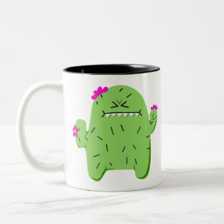 Grumpy Cute Kawaii Cactus Two-Tone Coffee Mug