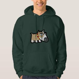 Grumpy Dog; Green Hooded Sweatshirt