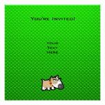 Grumpy Dog; Green Invitations
