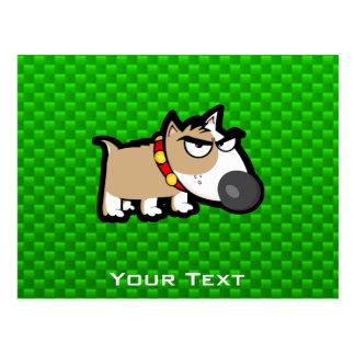 Grumpy Dog; Green Postcard