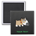 Grumpy Dog on Sleek 2 Inch Square Magnet