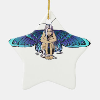 Grumpy fairy ceramic ornament