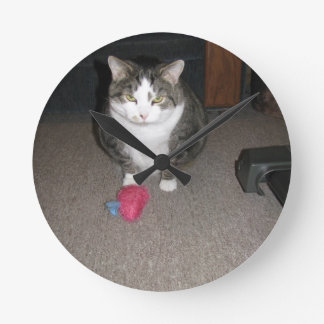 Grumpy Fat Cat is not amused Round Clock