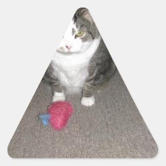 Grumpy Fat Cat is not amused Triangle Sticker