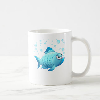 Grumpy Fish Cartoon Coffee Mug