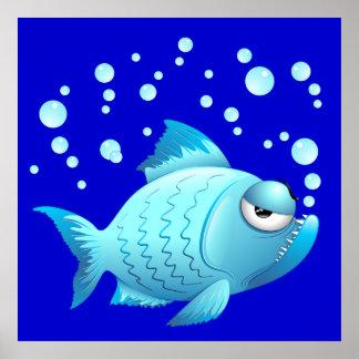 Grumpy Fish Cartoon Poster