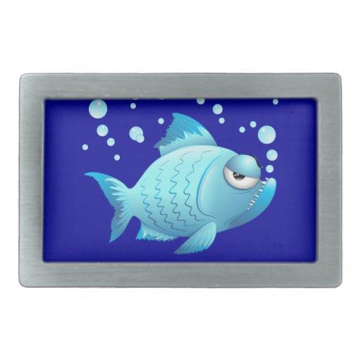Grumpy Fish Cartoon Rectangular Belt Buckle