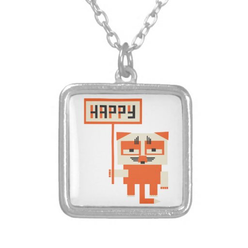 grumpy fox holding HAPPY sign Square Pendant Necklace