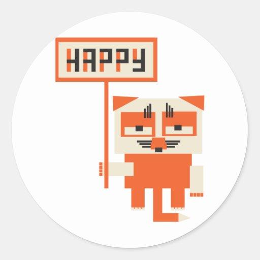 grumpy fox holding HAPPY sign Stickers