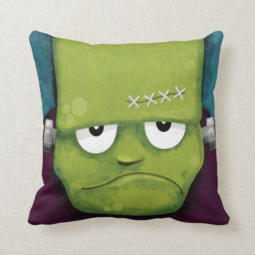 Grumpy Frankenstein Halloween Throw Pillow