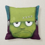 Grumpy Frankenstein Halloween Throw Pillow Throw Pillow