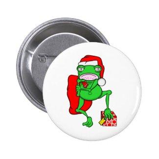 Grumpy Funny Chritmas Frog Cartoon 2 Inch Round Button