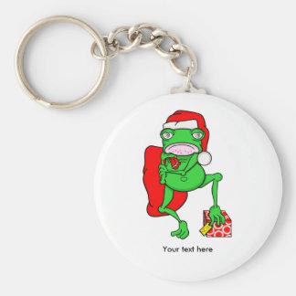 Grumpy Funny Chritmas Frog Cartoon Keychain
