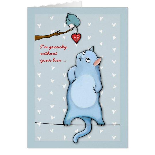 Grumpy George blue Grouchy Valentine's Card