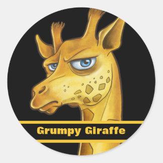Grumpy Giraffe Classic Round Sticker