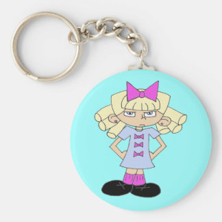 Grumpy Girl Basic Round Button Keychain