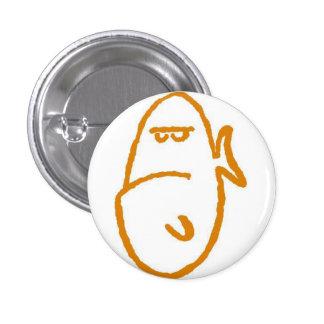 Grumpy Goldfish on a white button.