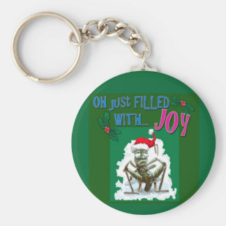 Grumpy Grasshopper with Christmas hat Key Chains