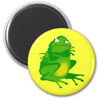 Grumpy green Frog 2 Inch Round Magnet