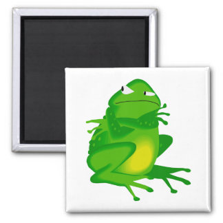 Grumpy green Frog 2 Inch Square Magnet