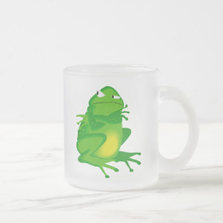 Grumpy green Frog Frosted Glass Coffee Mug