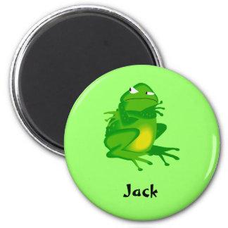 grumpy green frog magnet