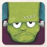Grumpy Halloween Frankenstein's Monster Square Paper Coaster