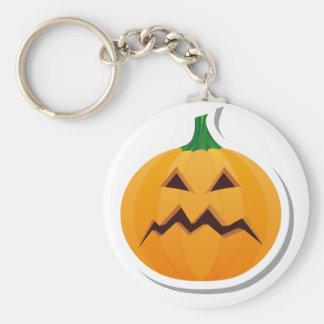 Grumpy Halloween Pumpkin Basic Round Button Keychain