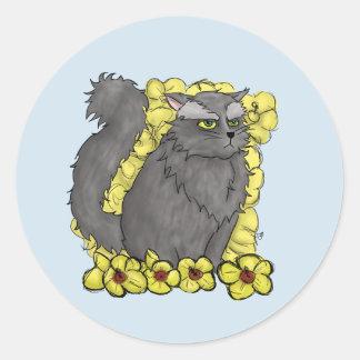 Grumpy Kitty Round Sticker