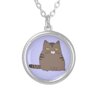 Grumpy Kitty Silver Plated Necklace