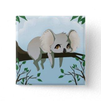 Grumpy Koala bear button