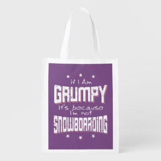 GRUMPY not SNOWBOARDING (wht) Reusable Grocery Bag
