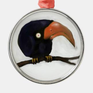 Grumpy Old Crow Roosting Metal Ornament