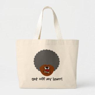Grumpy Old Man: Hey, you kids get off my lawn! Large Tote Bag